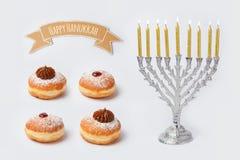 Chanukkahferiemat och objekt för åtlöje upp mall arkivfoto