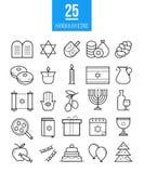 Chanukkahlinje symbolsvektoruppsättning Judisk modern översikt Royaltyfria Bilder