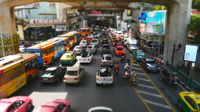 Chao Loem Pao junction in Bangkok. Bangkok, Thailand-October 6, 2016: Thailand's capital is known for being among some of the more congested cities in Southeast stock video