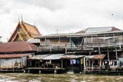 Chao Phraya Bangkok för Klong fattig folkflod Fotografering för Bildbyråer