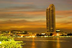Chao Phraya in Bangkok at twilight time Royalty Free Stock Image
