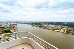 Chao Phraya flodBangkok cityscape Thailand Fotografering för Bildbyråer