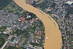 Chao Phraya river. Aerial view of Chao Phraya river in Bangkok Stock Images