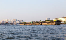 Chao Phraya river in Bangkok with cargo ship Stock Photography