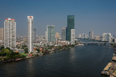 Chao Phraya river Bangkok cityscape Thailand Royalty Free Stock Photo