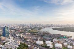 Chao Phraya river and Bangkok cityscape. Royalty Free Stock Photo