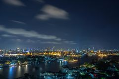 Chao Phraya River, Bangkok at night, overlooking the Grand Palac royalty free stock photo