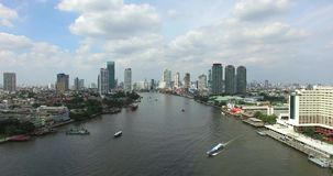 Chao Phraya River, Bangkok, Thailand. Aerial View: Chao Phraya River in Bangkok the capital city of Thailand. Chao Phraya River is the main river of Thailand stock footage