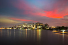 The Chao Phraya River. Bangkok, Thailand - March 8, 2015: Siriraj Hospital on the Chao Phraya River, one of the oldest and the most famous hospital in Thailand Royalty Free Stock Photos