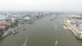 Chao Phraya River. Bangkok Thailnad November 2016 ; Aerial view on the river stock video