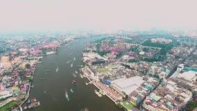 Chao Phraya River. Bangkok Thailnad November 2016 ; Aerial view on the river stock video footage
