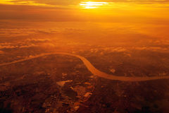 Chao Phraya River bird eye view during the sunset,THAILAND.  Royalty Free Stock Photography
