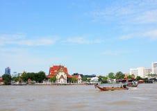 CHAO PHRAYA river boat ship goods & person Transportation, BANGKOK, THAILAND. Royalty Free Stock Photo