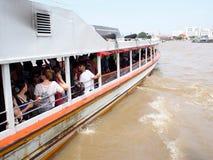 CHAO PHRAYA river boat ship goods & person Transportation, BANGKOK, THAILAND. Royalty Free Stock Photography