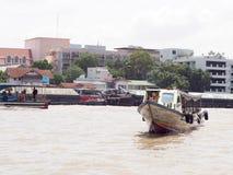 CHAO PHRAYA river boat ship goods & person Transportation, BANGKOK, THAILAND. Stock Image