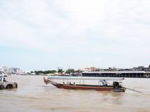 CHAO PHRAYA river boat ship goods & person Transportation, BANGKOK, THAILAND. Royalty Free Stock Photos