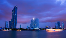 Chao Phraya river in cloudy night Stock Photo