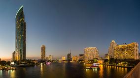 Chao Phraya River at dusk Stock Photos