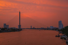 Chao Phraya River the evening. Stock Image
