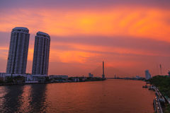 Chao Phraya River the evening. Royalty Free Stock Image
