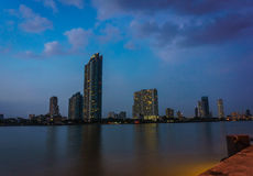 Chao Phraya River evening scene in Bangkok, Thailand Stock Images