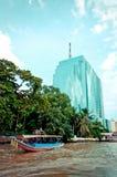 Chao Phraya River and houses in Bangkok Stock Photography