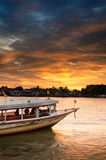 Chao phraya river. Light in the evening In the midst of the river Royalty Free Stock Photo