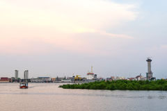 Chao Phraya river outflow under evening sky Stock Photography