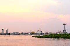Chao Phraya river outflow under evening sky Stock Photos