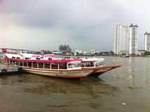 Chao Phraya River. This photo showed the view around the river Stock Photos