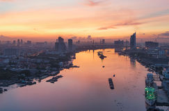 Chao Phraya River at Sunrise, Bangkok, Thailand Stock Photography