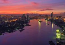 Chao Phraya River at Sunrise, Bangkok, Thailand Royalty Free Stock Image