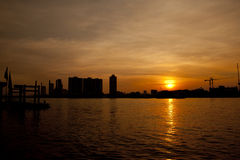 Chao Phraya River at sunset Royalty Free Stock Photography