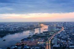 Chao Phraya river. Sunset Scene of Chao Phraya river in Bangkok Stock Photos