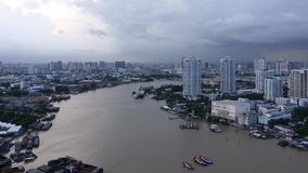 Chao Phraya River time lapse, Bangkok City, Thailand.  stock footage