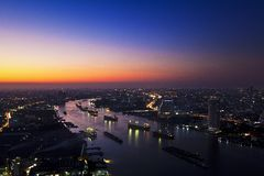 Chao Phraya river in twilight Stock Photo