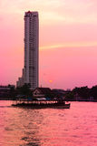 Chao Phraya River at twilight Royalty Free Stock Photos