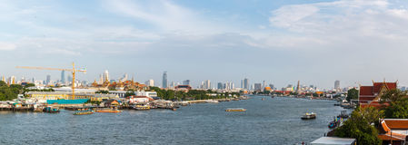Chao Phraya River view of Tha Chang pier Royalty Free Stock Images