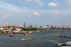 Chao Phraya River view of Tha Chang pier Royalty Free Stock Photo