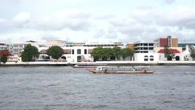 Chao Phraya river. Water transportation in Chao Phraya river, Thailand stock footage