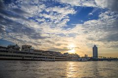 Chao Phraya riverfont view from Express boat with morning light. stock photo