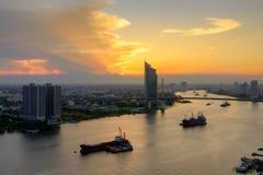 Chao Phraya Sunset Fotografia de Stock Royalty Free