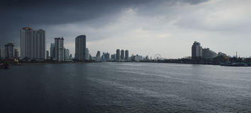 Chao Praya river with a dark stormy sky Royalty Free Stock Photo