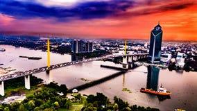 Chao Praya River-Landschaft Lizenzfreie Stockfotos