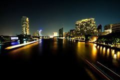 Chaophaya the river of life. One night on Bangkok ,Thailand The river Chaophaya have be nice night Royalty Free Stock Images