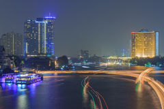Chaophaya river view. Evening night color line beautiful backgroud Royalty Free Stock Photos