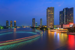 Chaophaya river view. Evening night color line beautiful backgroud Stock Image
