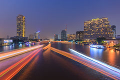 Chaophaya river view. Evening night color line beautiful backgroud Royalty Free Stock Image