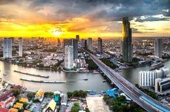 Chaophraya-Fluss, Bangkok Stockbild