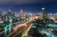 Chaophraya river and Bangkok cityscape. At night Royalty Free Stock Photo